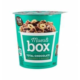 Mix de cereale crocante cu ciocolata, cubucati de alune si ciocolata cu lapte, 85g - Muesli Box