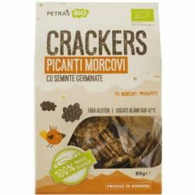 Crackers picanti cu morcovi si seminte germinate RAW - 100g - Petras Bio