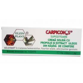 "Carpicon ""S"" - supozitoare cu propolis si extract  uleios din rasina de conifere 15g 10buc x 1.5g - ELZIN PLANT"