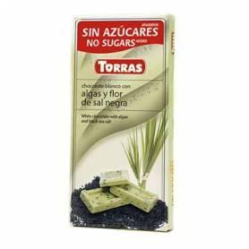 Ciocolata alba cu alge si sare de mare neagra fara zahar 75g - TORRAS