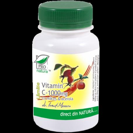 Vitamina C 1000 mg cu macese si acerola - lamaie - 100cp - Medica