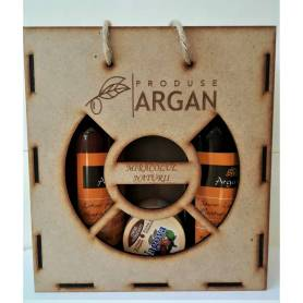 Set cadou cutie de lemn Lotiune de corp + Crema hidratanta + Sapun lichid cu argan, Argana