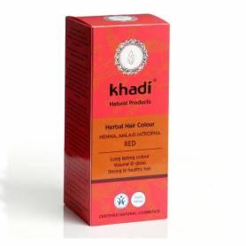 Henna cu amla si jatropha (Rosu) - Vopsea de par naturala 100g - Khadi