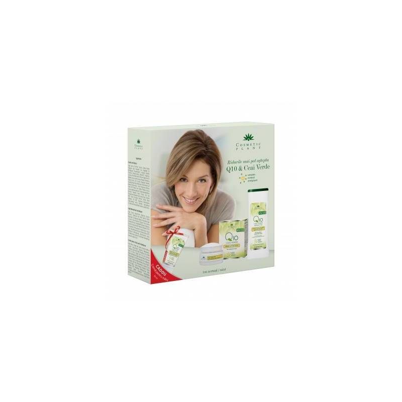 Set cadou Q10+ceai verde cu crema antirid zi, lapte demach. si crema maini - Cosmetic plant