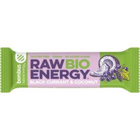 Raw Energy Baton energizant cu coacaze negre si nuca de cocos, eco-bio, 50g - Bombus