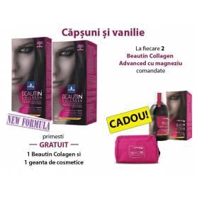 Pachet promo Beautin Colagen Magneziu Caspuni si Vanilie + cadou: Beautin Coalgen si geanta cosmetice