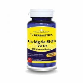 Ca+Mg+Se+Si+Zn cu vitamina D3 30cps - Herbagetica