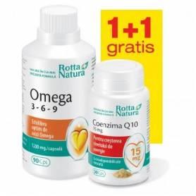 Omega 3-6-9 90cps+Coenzima Q10 15mg 30cps Gratis - Rotta Natura