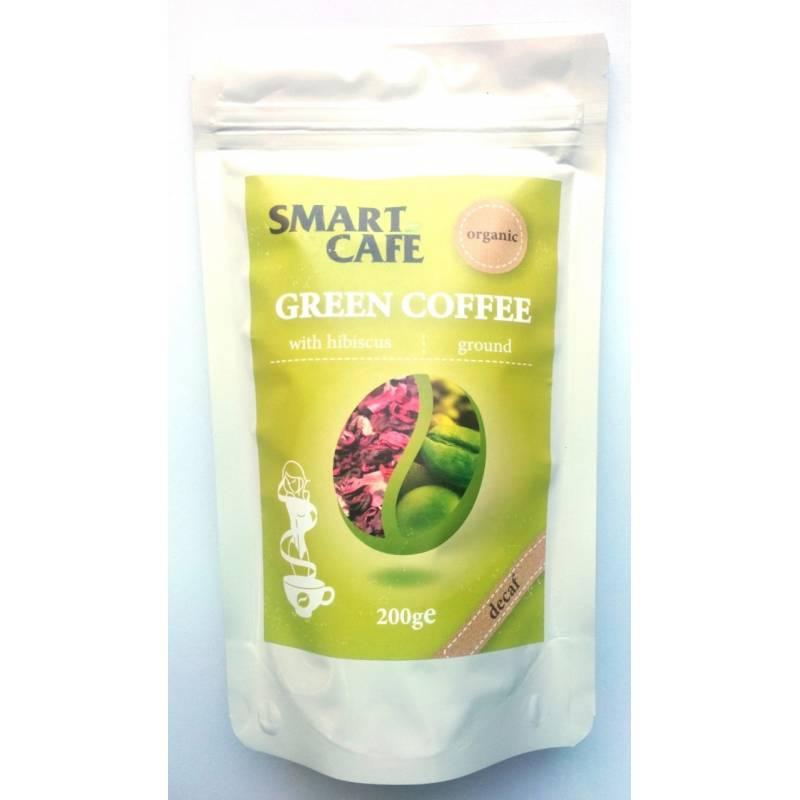 Cafea verde macinata decofeinizata cu hibiscus bio 200g - Dragon Superfoods
